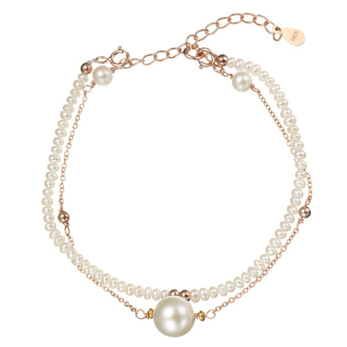 Double Strand White Seed Pearls Bracelet