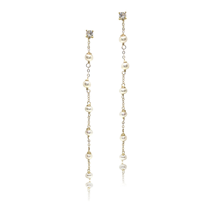 Long Drop Pearl Earring with CZ Stud (Single)