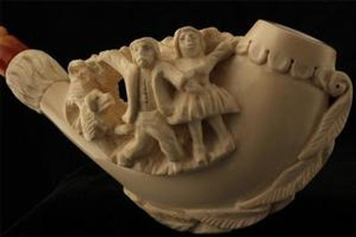 Ceremony Hand Carved Block Meerschaum Pipe in Chest Presentation CASE 4170 pipa