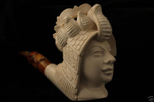 Cleopatra Hand Carved Block Meerschaum Smoking Pipe in a fitted CASE 4724 pipa