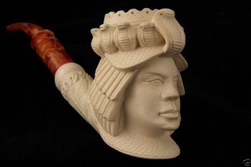 Cleopatra Carved by I. Baglan Block Meerschaum Pipe in a fitted case 5949 ????