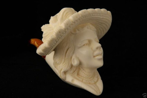 Victorian Lady Hand Carved Block Meerschaum Pipe by E. Cevher 6044 in a fit case