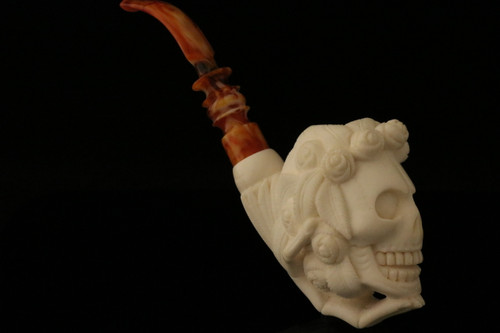 Floral Skull Hand Carved Meerschaum Pipe by I. Baglan in case  8132