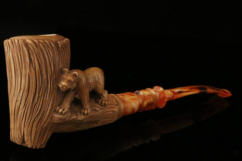 Tiger  Hand Carved Block Meerschaum Pipe in a fitted CASE 8305