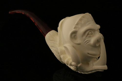 Chimpanzee in Claw Hand Carved Meerschaum Pipe in a fitted CASE 8334