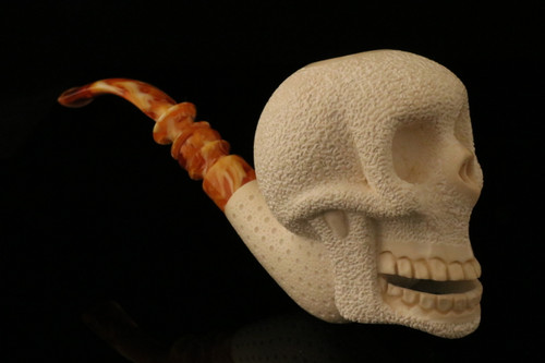 Skull Hand Carved Block Meerschaum Pipe in a fitted CASE 8336