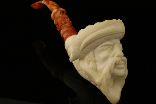 Pirate Hand Carved Block Meerschaum Pipe by I. Baglan in case 8798