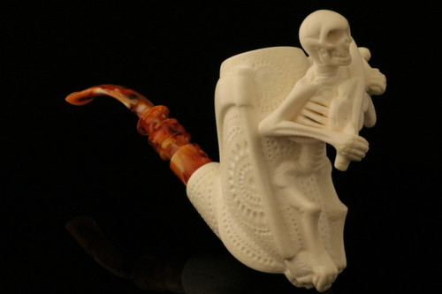 Skeleton Playing a Violin Hand Carved Meerschaum Pipe in CASE 8806
