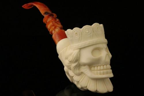 Skull the King Block Meerschaum Pipe by I. Baglan in fit case 8829