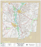 Monroe County Mississippi 2018 Wall Map