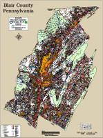 Huntingdon-Blair Counties Pennsylvania 2016 Wall Map