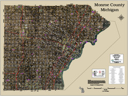 Monroe County Michigan 2018 Aerial Wall Map