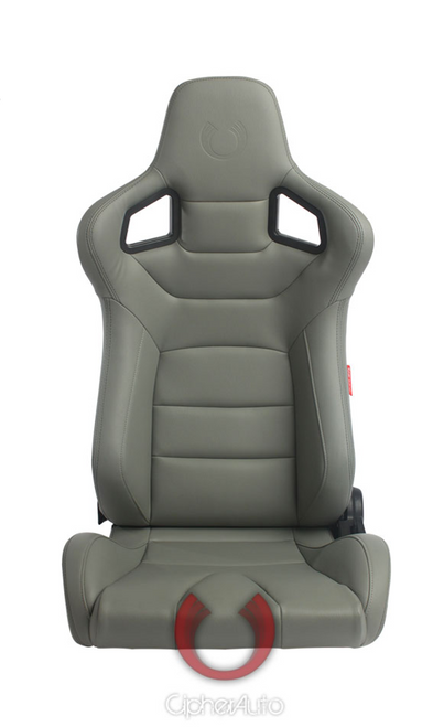 Cipher Auto - Racing Seats Gray Leatherette Carbon Fiber w/ dark grey stitching