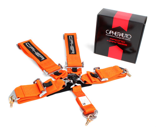 Cipher Orange 5 Point 3 Inches Camlock Racing Harness - Sfi 16 1