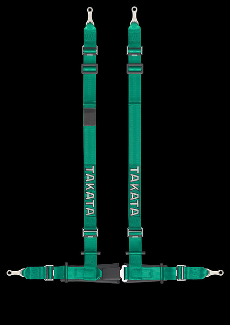 """Street Oriented 4 point harness 2"""" Shoulders, 2"""" Lap belts Street Legal Bolt-in hardware Available in Green or Black"""