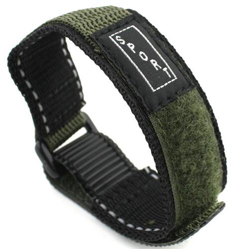20MM Velcro® Style Green Nylon Sport Watch Strap