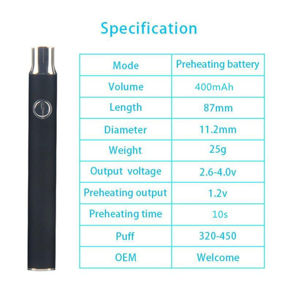 400 Mah Variable Voltage Battery + USB Charger | Assorted Black/Stainless | Retail Packaging