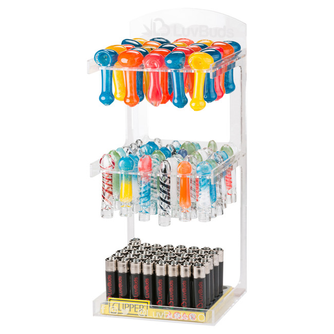 LuvBuds POS Pipe Display   100 Pipes and 100 Chillums Included   Retail Display