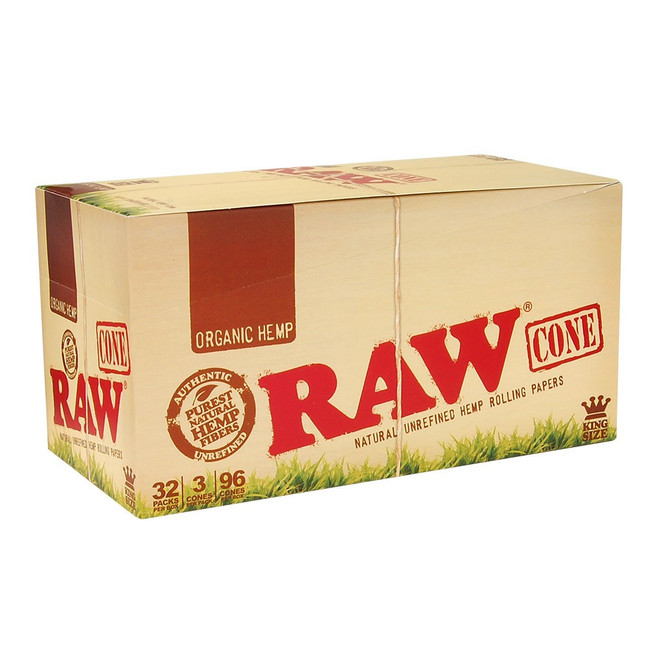 RAW Hemp Cones King Size | 32 pk of 3 Pre-Rolled Cones | Retail Display