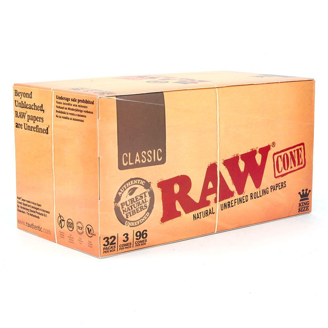 RAW Natural Cones King Size | 32 pk of 3 Pre-Rolled Cones | Retail Display