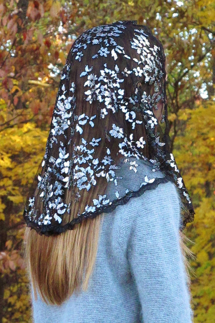 Black and Silver Metallic Chantilly Lace Mantilla Chapel Veil