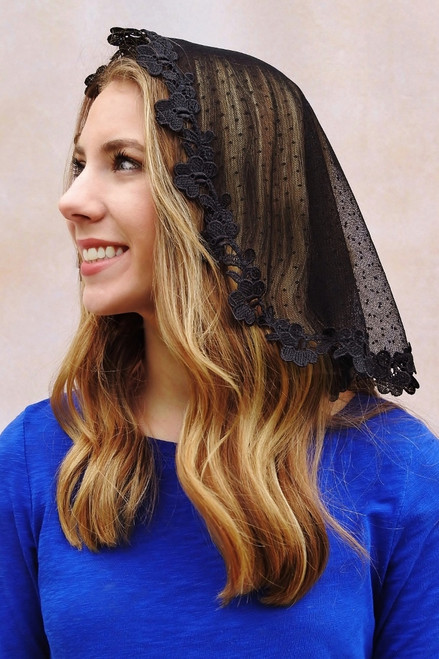 Short Black Dot Tulle Half-Circle Mantilla with Cherry Trim