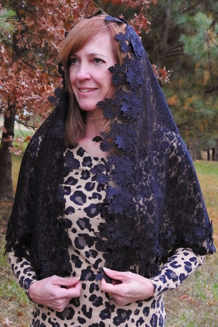 """Embrace"" Black Wrap Veil with Heavy Multi-Layered Floral Venice Lace Trim"
