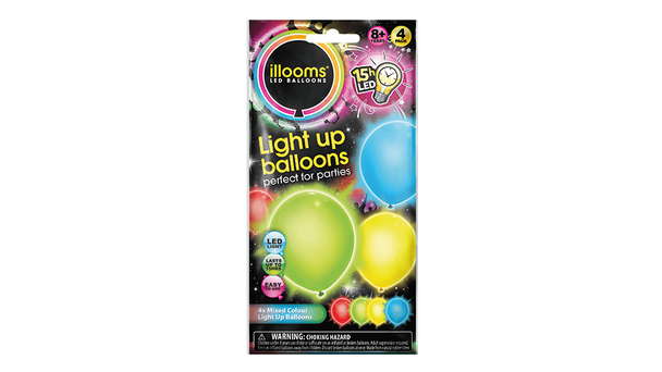 Illooms LED Balloons Mixed Colour 4 Pack