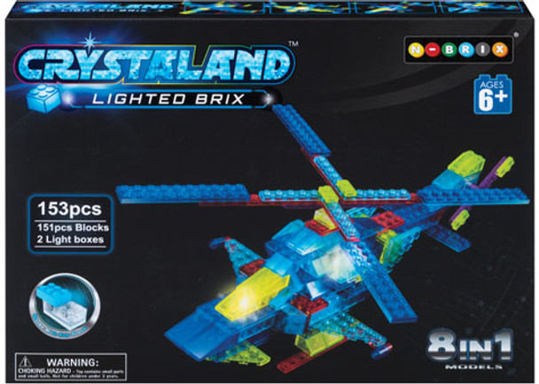 Lighted Brix 8 In 1 Helicopter – 153 Pieces