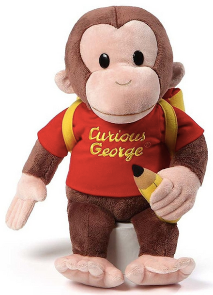 GUND Curious George With Backpack - 40cm