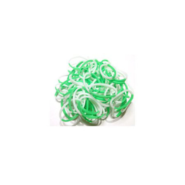 Green White Duo - Rainbow Loom Rubber Bands NEW!