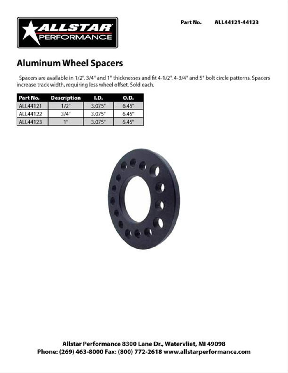 Allstar Performance 5 Lug 1/2 In. Thick Aluminum Wheel Spacer ALL44121 (SPEC SHEET)