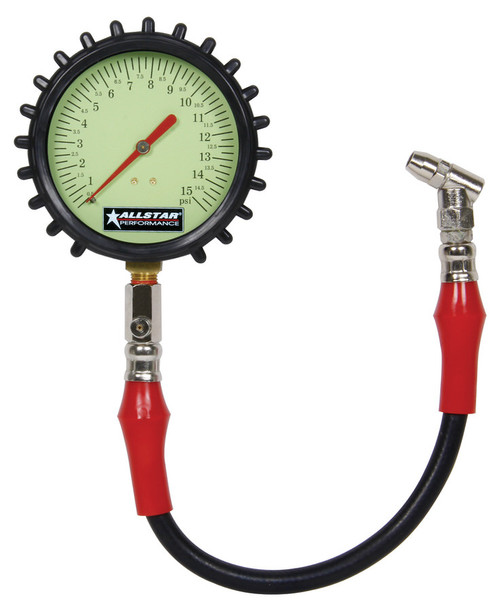 Allstar Performance Tire Pressure Gauge Glow in the Dark 0-15 psi 4 inch Diameter ALL44046