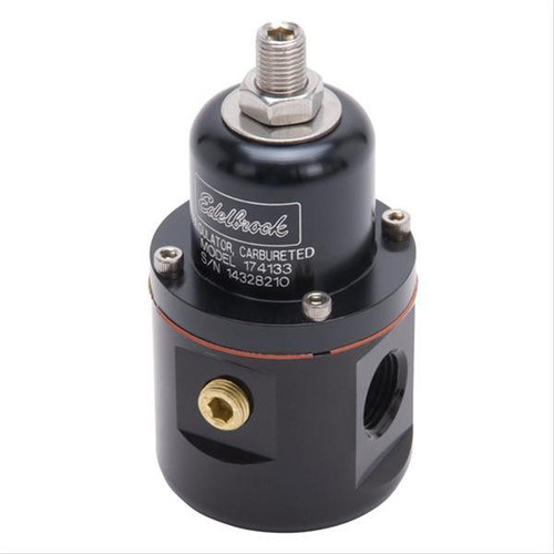 Edelbrock Black Anodized Aluminum Fuel Pressure Regulator 174133 (5 to 10 psi, In-Line, 3/8 in NPT Inlets, 3/8 in NPT Outlet, 3/8 in NPT Return, Bypass, Gas)