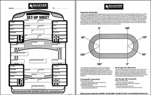 Allstar Performance Setup Sheets ALL045