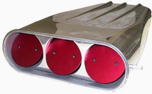 """Racing Power Company Polished Aluminum """"Finned"""" Street Scoop for Single 4 barrel or Dual Quad (Round Butterfly Flaps) R5239"""