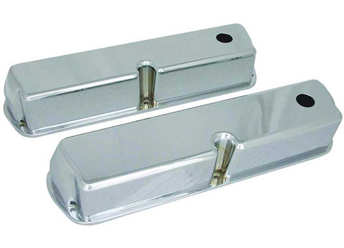 Big End Polished Aluminum Valve Covers with Breather Holes BEP70039 (SBF Small Block Ford)