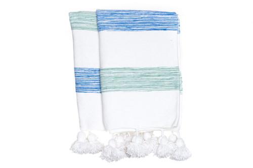 Blue White Moroccan Pom Pom Blanket