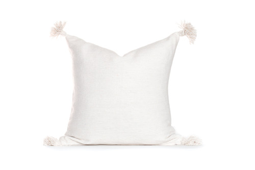 Frenchie Ivory Moroccan Tassel Pillow
