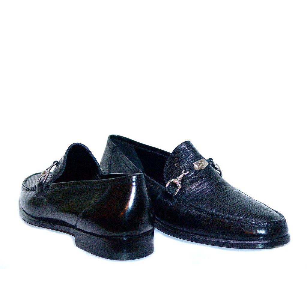 Lorenzo Banfi Calfskin With Lizard Vamp 700 Black