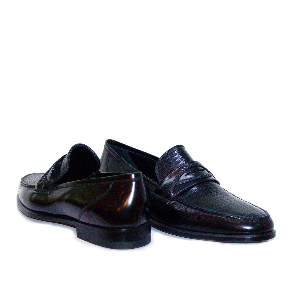 Lorenzo Banfi Lizard Vamp Loafer 722 Black