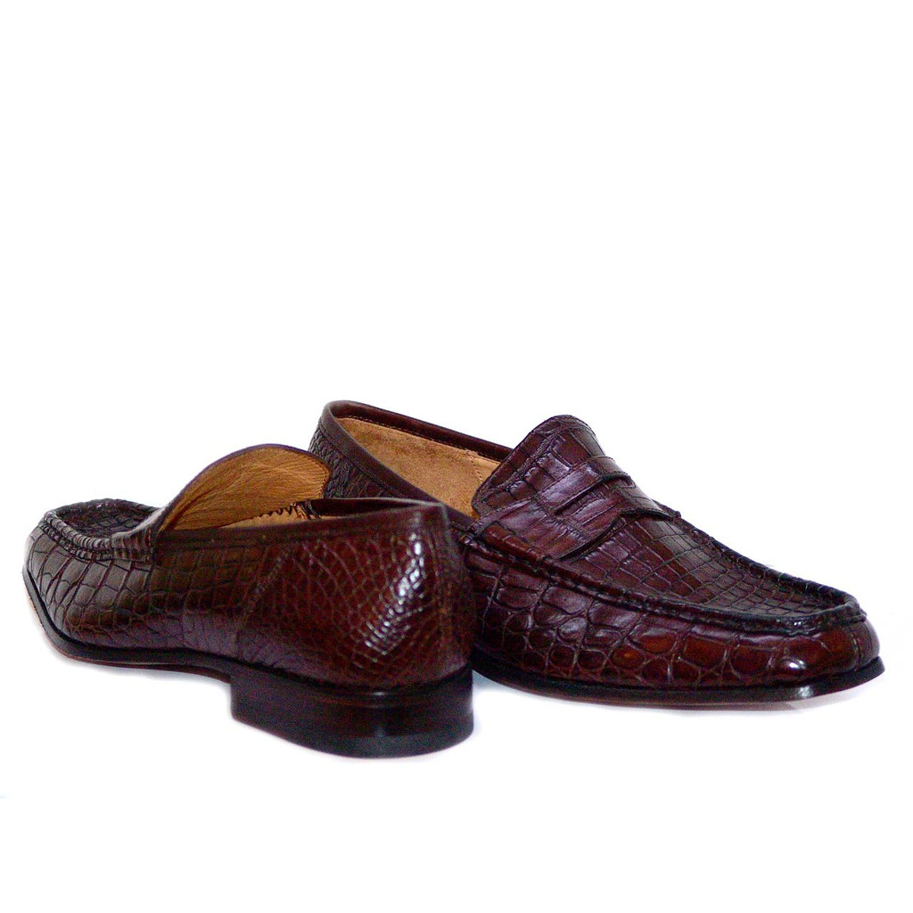 Dami 2678 Baby Alligator Penny Loafer Brown
