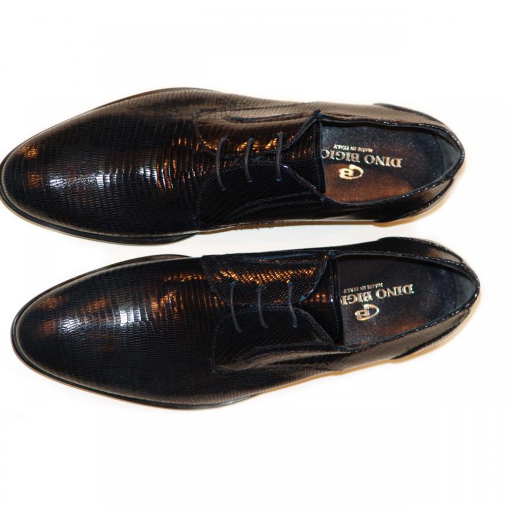 Dino Bigioni Pelle Line Exclusive 13062 Lizard Lace Up Navy