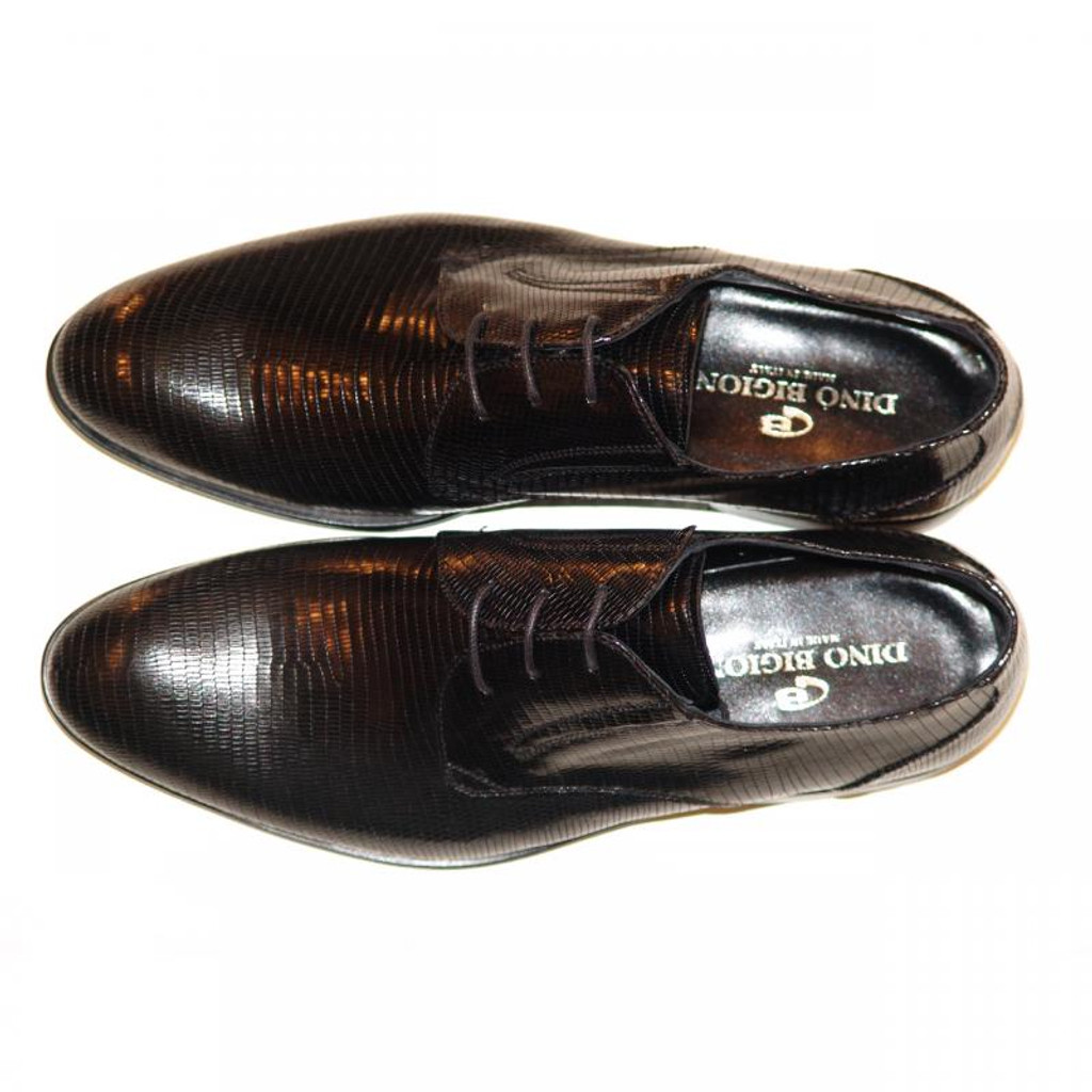 Dino Bigioni Pelle Line Exclusive 13062 Lizard Lace Up Black
