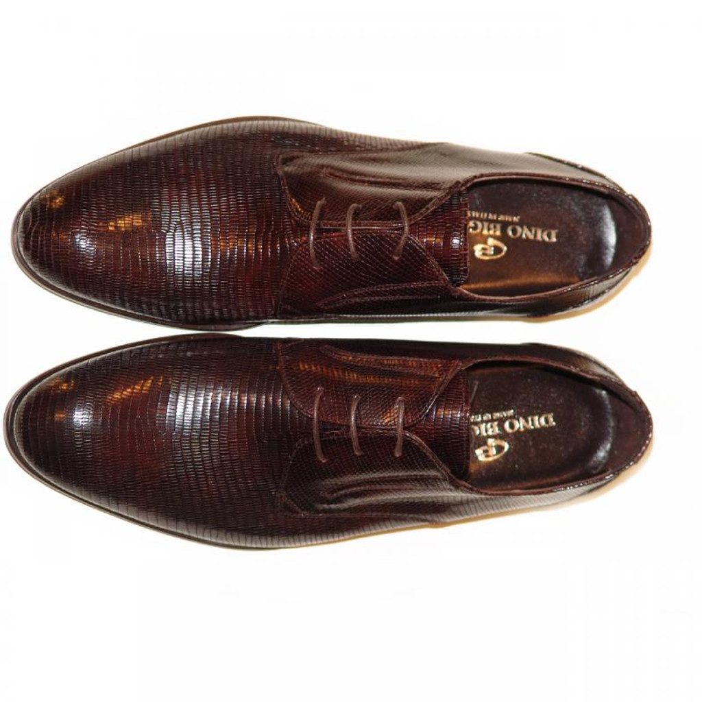 Dino Bigioni Pelle Line Exclusive 13062 Lizard Lace Up Brown