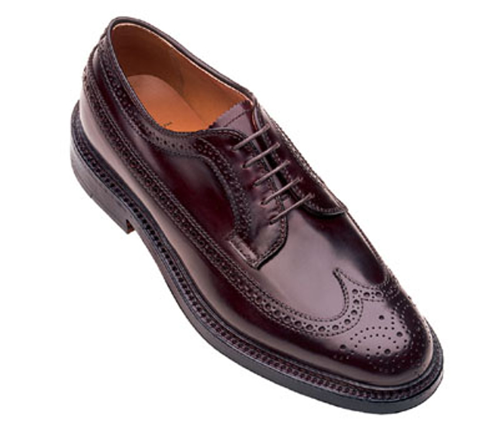Alden 975 Shell Cordovan Long Wing Tip Blucher In Dark Burgundy