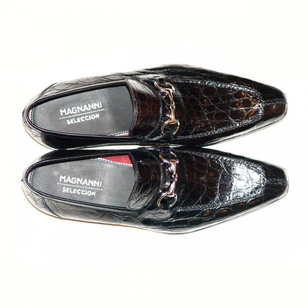 Magnanni Paul Hand Burnished Antiqued Genuine Crocodile Black