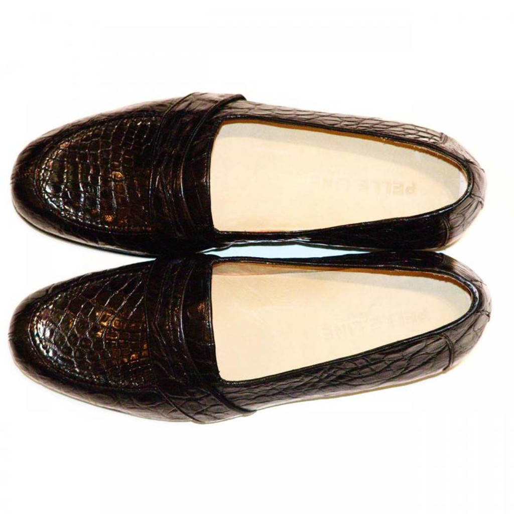 Pelleline Pisa Black Crocodile Low Cut Penny Loafer