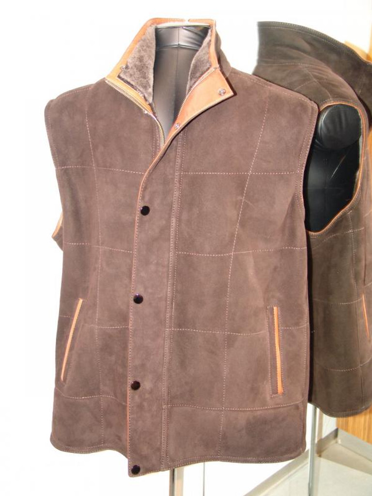 Pelleline Shearling Vest Chocolate Brown With Tan Trim
