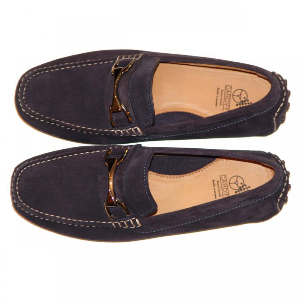 Pelle Line Exclusive 50564 Comfort Driving Moccasin Navy Suede